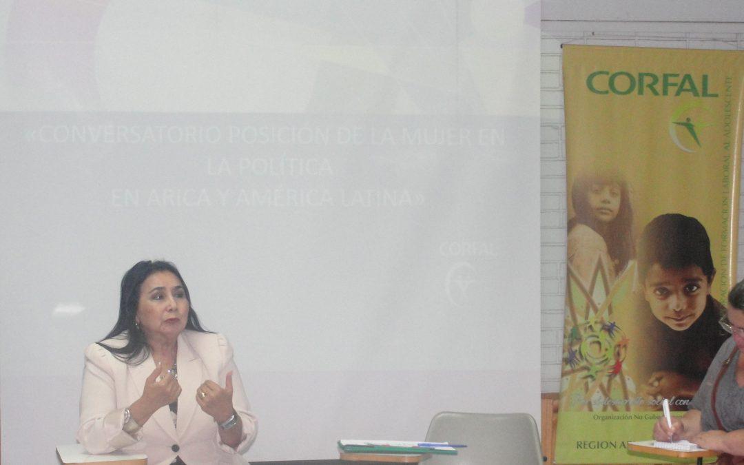 Ex Ministra de Estado de Perú participa de Conversatorio sobre Mujer y Política en CORFAL